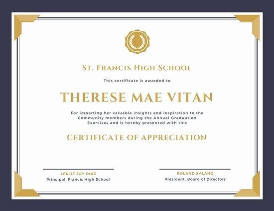 Certificate Of Appreciation Graduation Inspirational Purple and Gold Bordered Appreciation Certificate