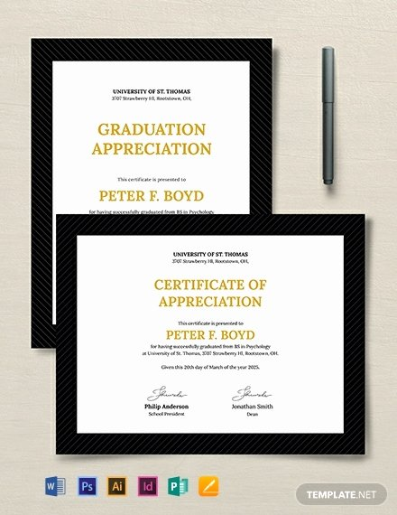 Certificate Of Appreciation Graduation New Free Graduation Certificate Template Word