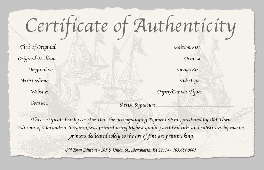 Certificate Of Authenticity Art Template Lovely Certificate Of Authenticity Of A Fine Art Print