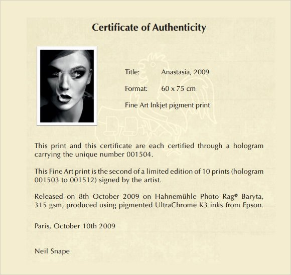 Certificate Of Authenticity Art Template Unique 45 Sample Certificate Of Authenticity Templates In Pdf