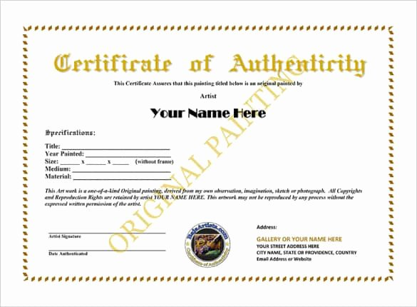 Certificate Of Authenticity Artwork Template Inspirational 12 Certificate Authenticity Templates Word Excel Samples