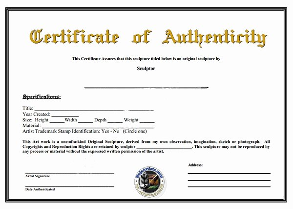 Certificate Of Authenticity Artwork Template Lovely Certificate Authenticity Template