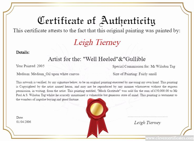 Certificate Of Authenticity Artwork Template Luxury Artist Maker Design and Print Your Free