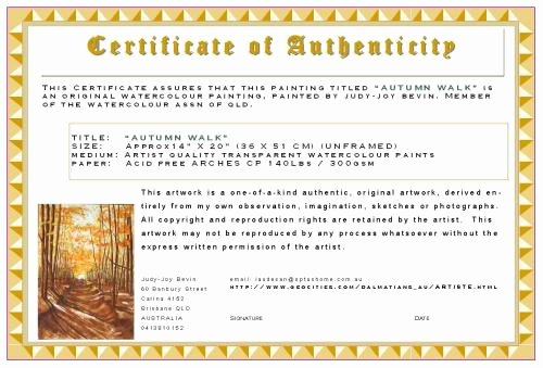 "Certificate Of Authenticity Artwork Template New Looking for ""certificate Of Authenticity"" Template Wetcanvas"
