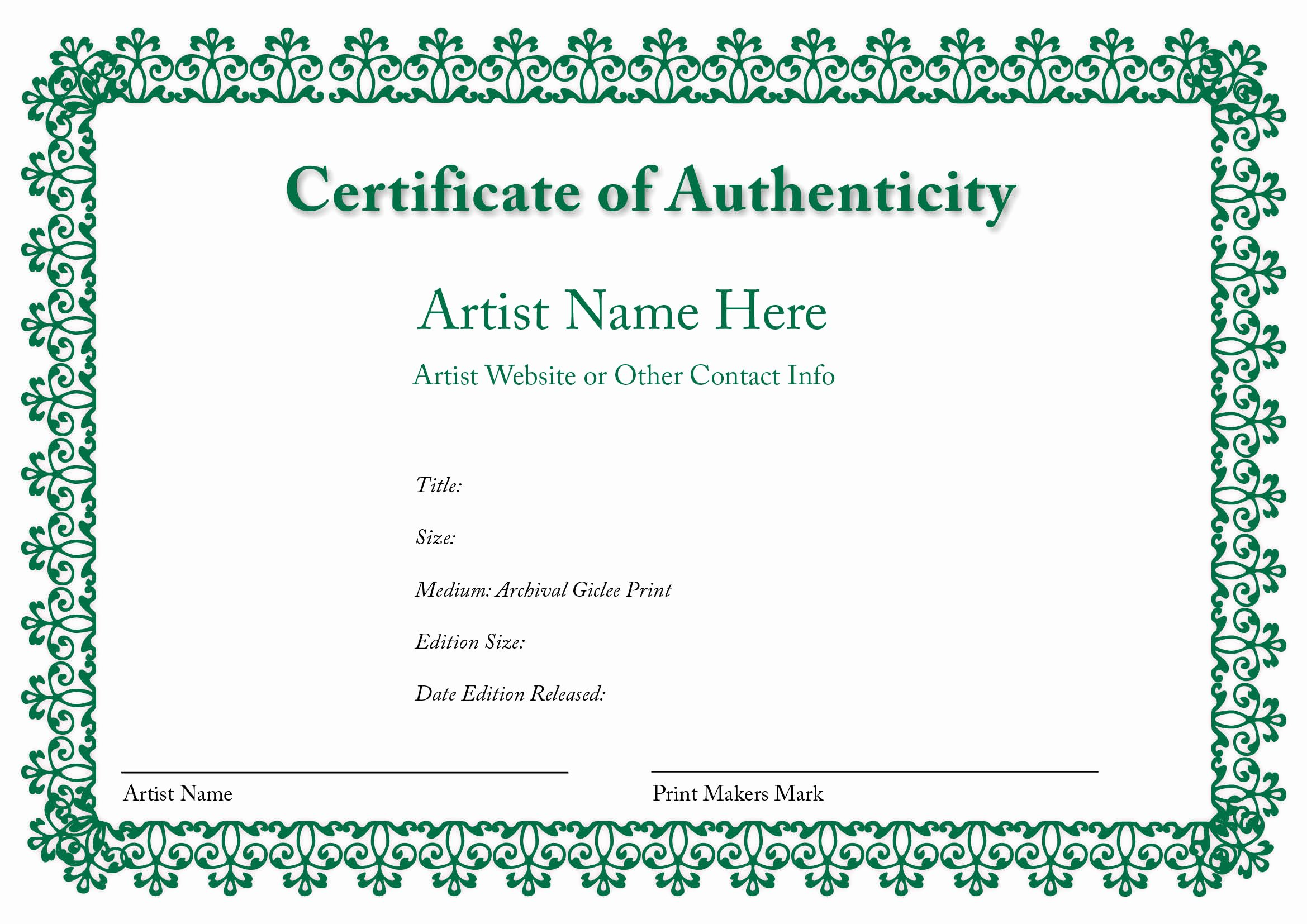 Certificate Of Authenticity Autograph Template Elegant Blank Certificates Of Authenticity
