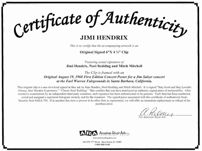 Certificate Of Authenticity Autograph Template Inspirational the Jimi Hendrix Experience Courtesy Of American Royal