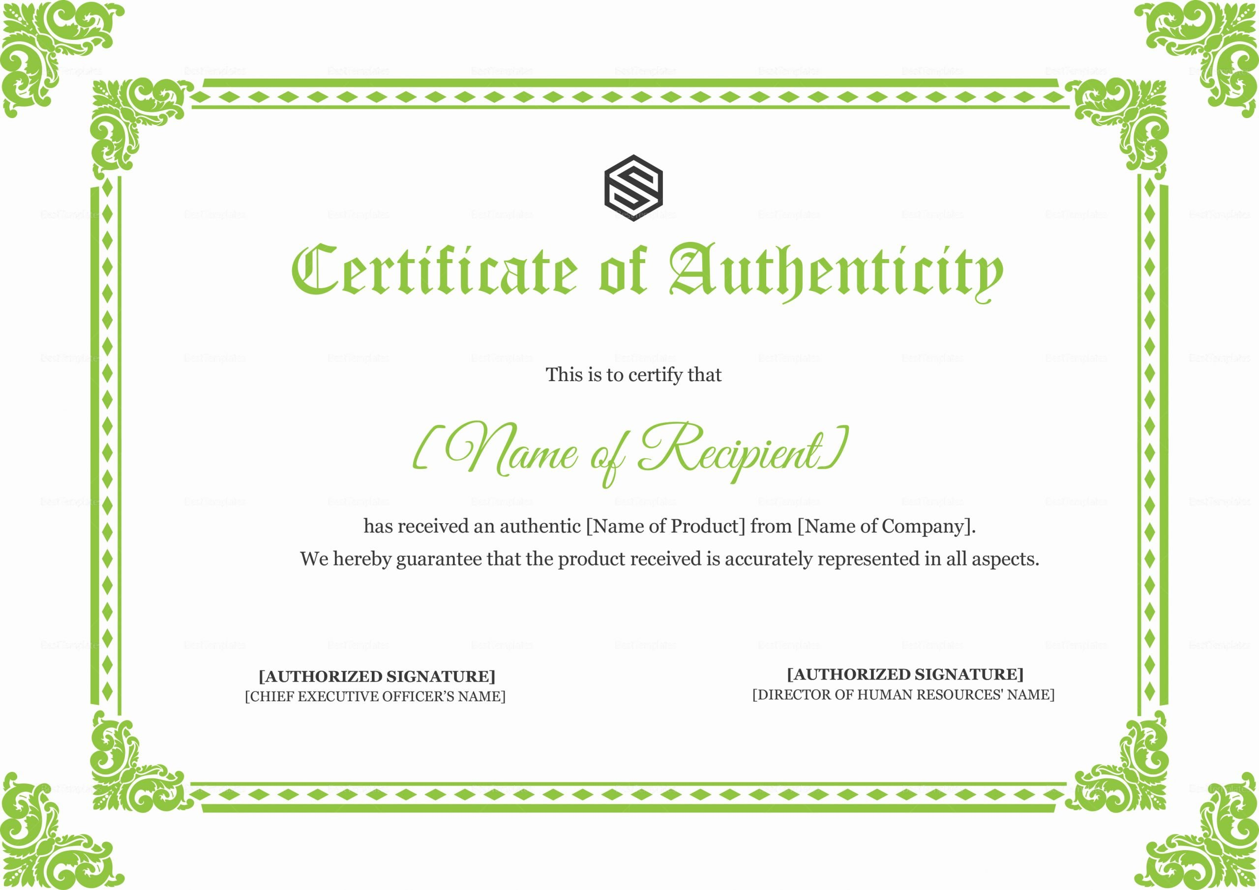 Certificate Of Authenticity Autograph Template Luxury Certificate Of Authenticity Design Template In Psd Word