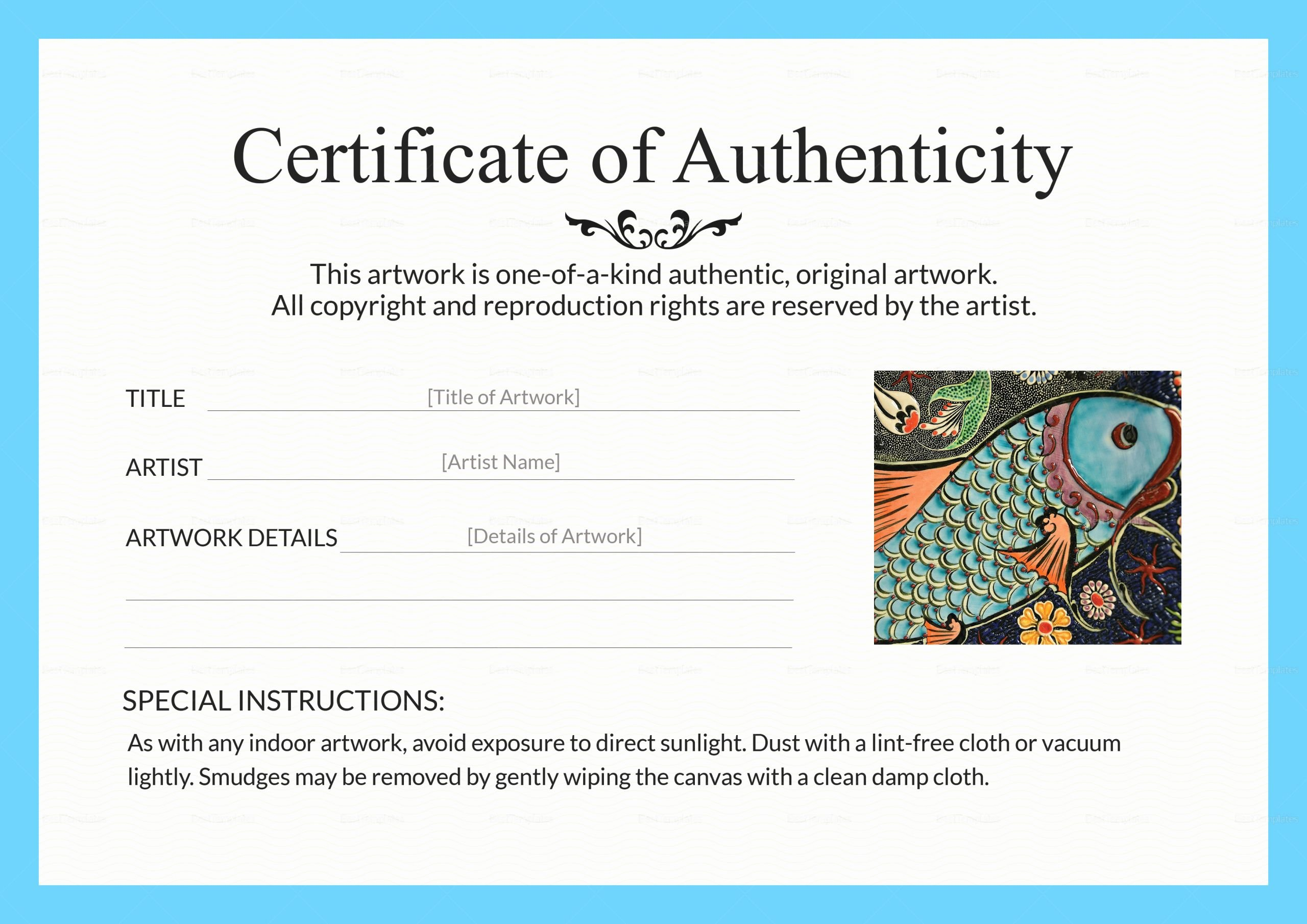 Certificate Of Authenticity Autograph Template New Artwork Authenticity Certificate Design Template In Psd Word
