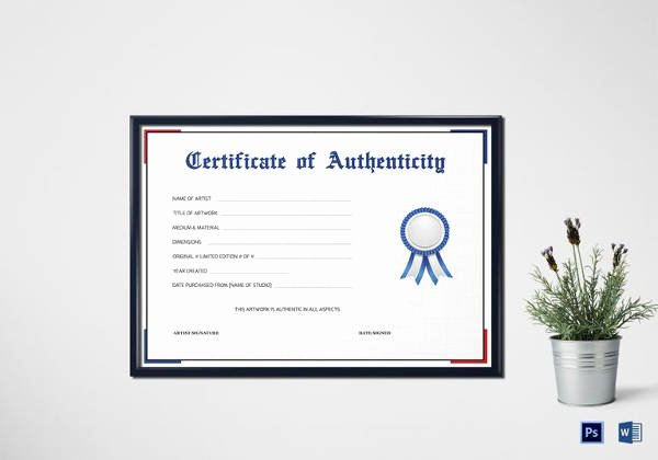 Certificate Of Authenticity Autograph Template Unique Certificate Of Authenticity Template 19 Free Word Pdf