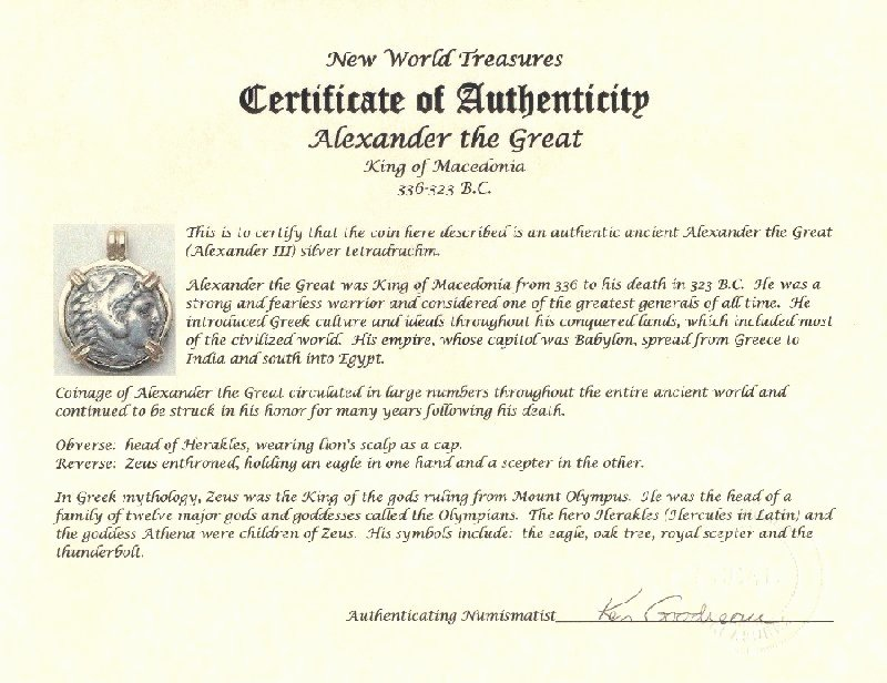 Certificate Of Authenticity for Photography Elegant Alexander the Great Ancient Greek Coin Jewelry