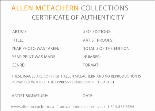 Certificate Of Authenticity for Photography Lovely original Artwork Certificate Of Authenticity — Montreal