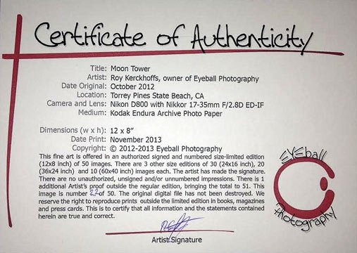 Certificate Of Authenticity for Photography Unique Art Shows Archives Wordpress Website
