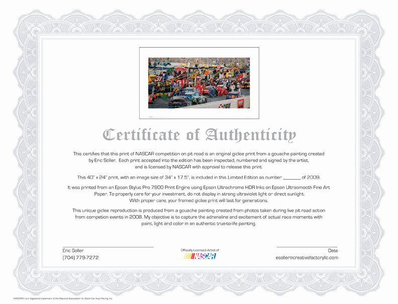 Certificate Of Authenticity Paper Awesome Creative Factory Llc L In the Pits