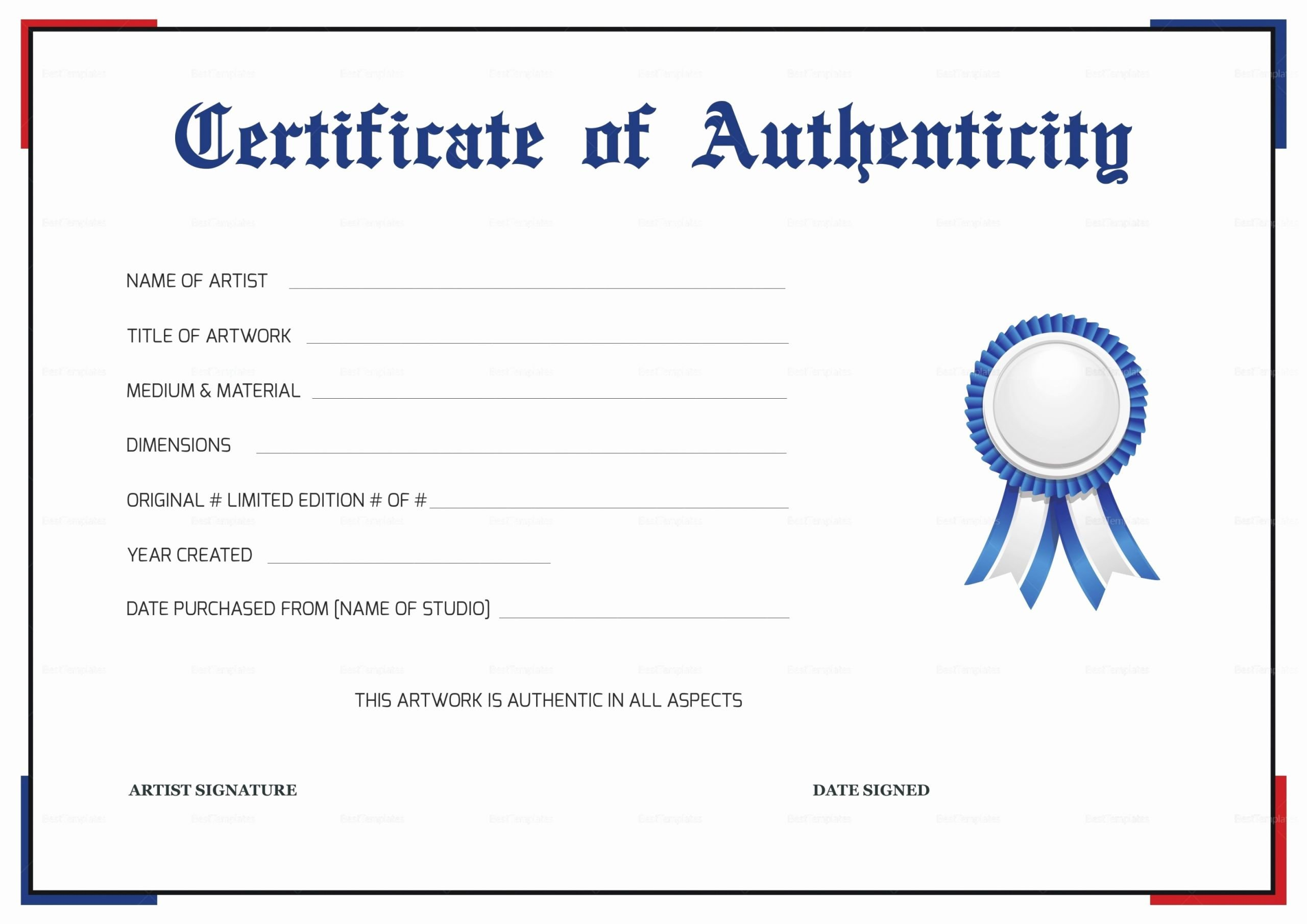 Certificate Of Authenticity Paper Best Of Certificate Authenticity Autograph Template