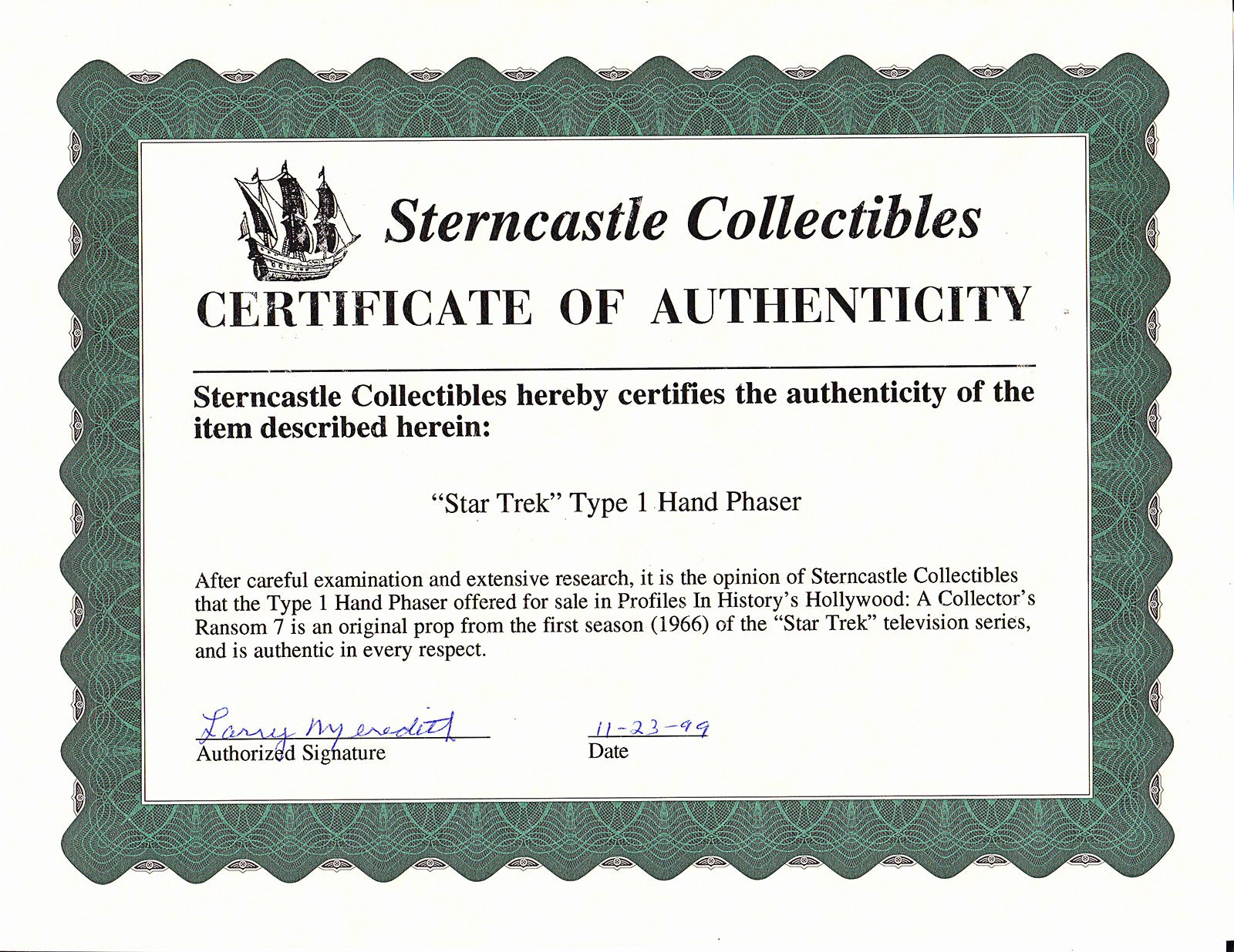 Certificate Of Authenticity Paper Best Of Wrath Of Dhan Star Trek Prop Blog A Real Honest to God