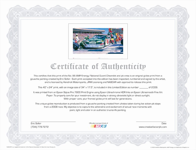 Certificate Of Authenticity Paper Elegant Creative Factory Llc L No 88 Amp Energy National Guard