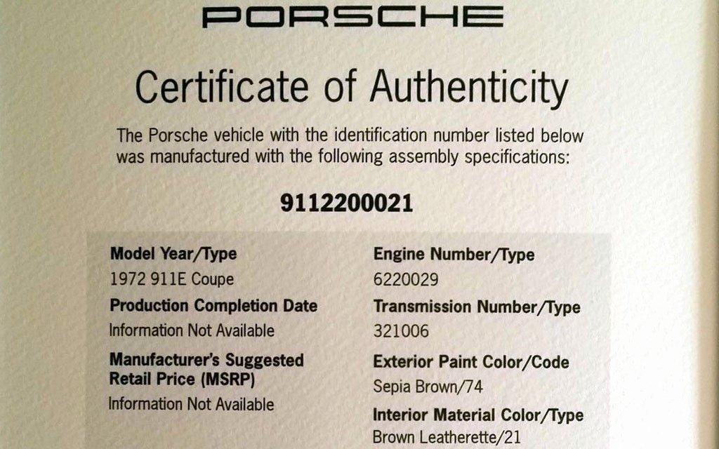 Certificate Of Authenticity Paper Elegant Supposed St 1972 Porsche 911