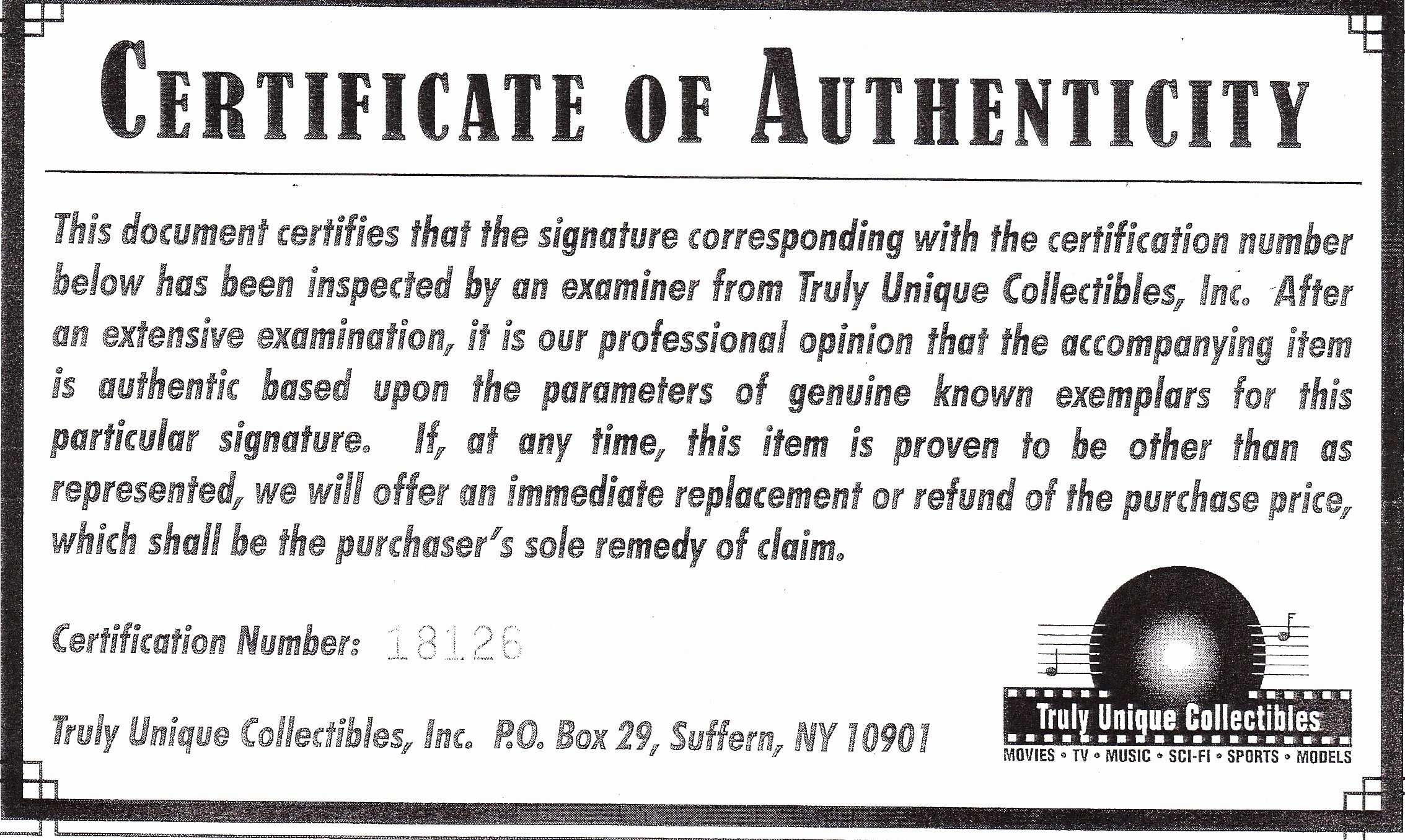 Certificate Of Authenticity Paper Lovely Phony Autograph Authenticators and Fake Coas Mar