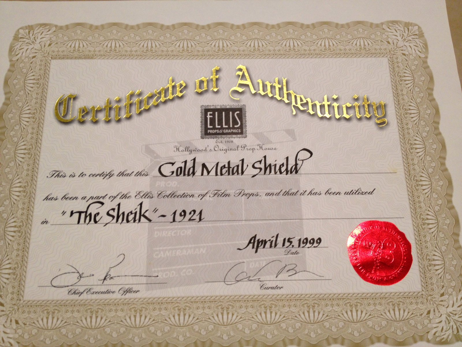 Certificate Of Authenticity Paper New Revisiting Ellis Props & Graphics – Certificates Of