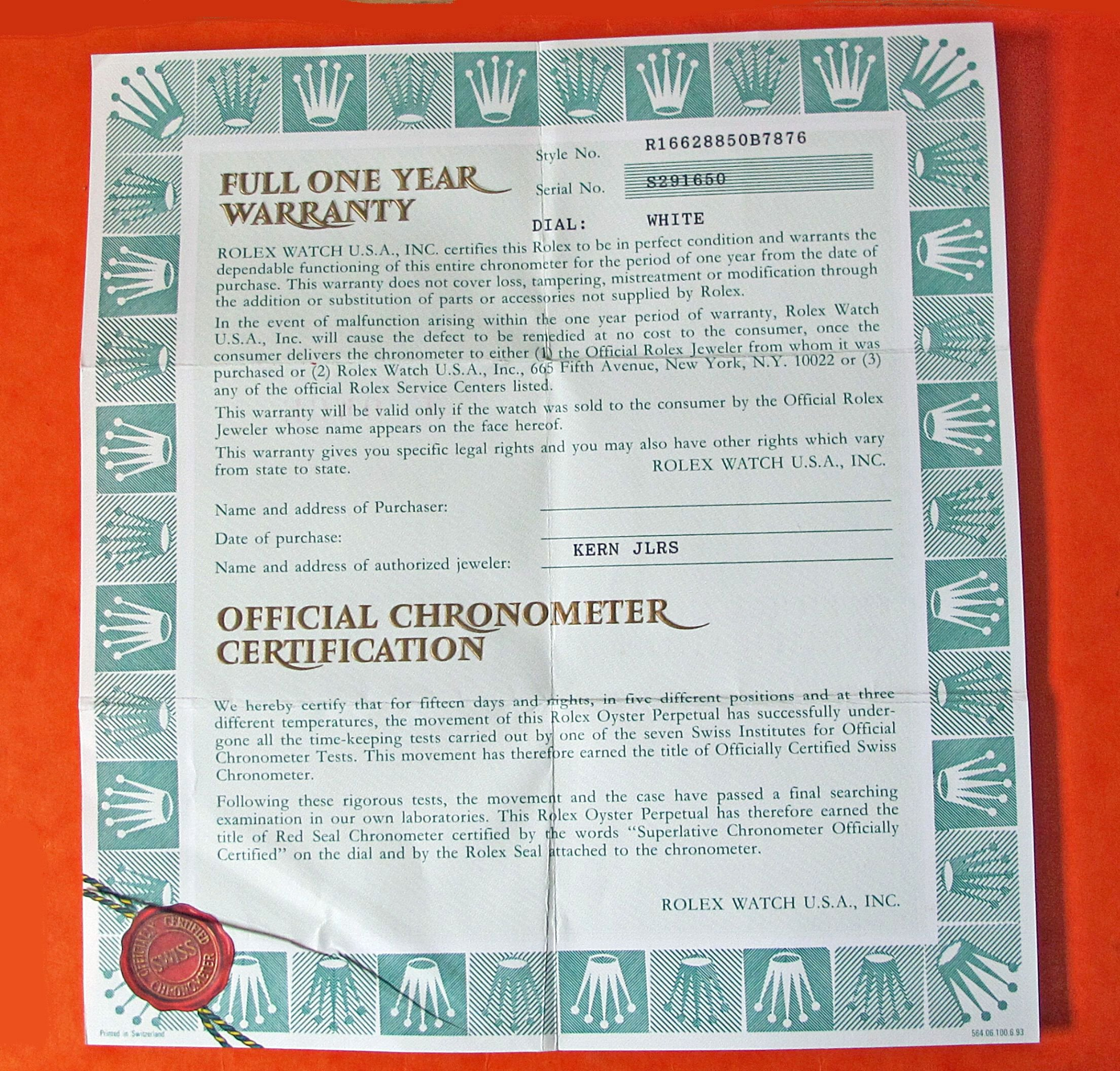 Certificate Of Authenticity Paper Unique Authentic Rolex Oem Vintage Guarantee Papers