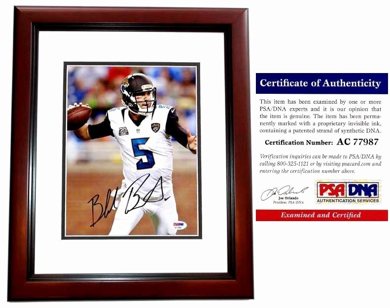 Certificate Of Authenticity Photography Awesome Autographed Bortles Picture 8x10 Inch Mahogany Custom