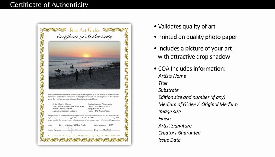Certificate Of Authenticity Photography Beautiful Certificate Of Authenticity Coa Css Printing S