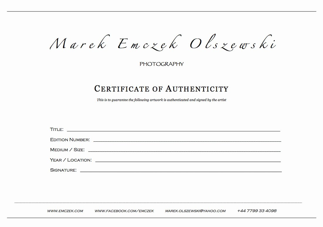 Certificate Of Authenticity Photography Elegant Certificate Authenticity Graphy – Planner Template