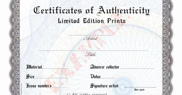 Certificate Of Authenticity Photography Fresh Blank Certificate Of Authenticity for Artists Collectors
