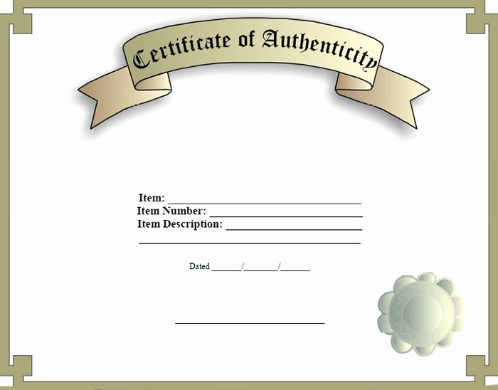 Certificate Of Authenticity Photography Template Unique Certificate Of Authenticity Template Certificate