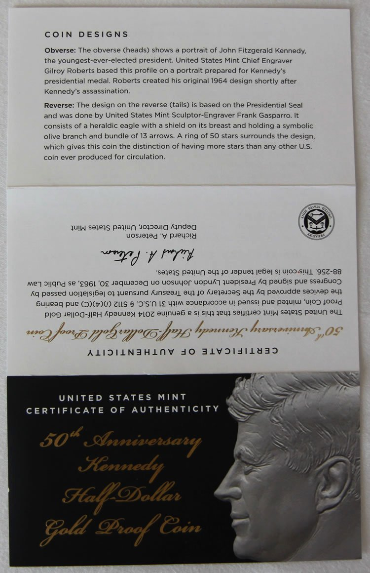 Certificate Of Authenticity Photography Unique S Of 2014 W 24k Kennedy Half Dollar Gold Coins