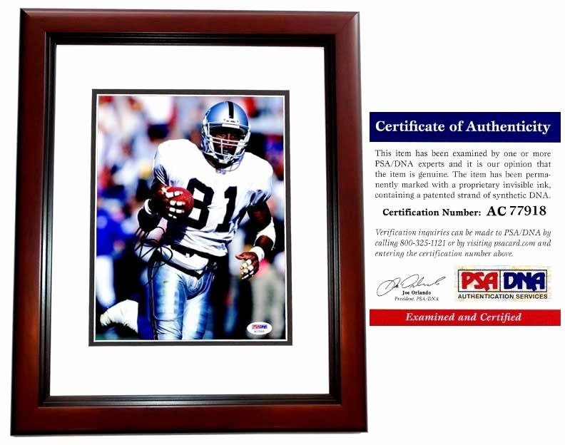 Certificate Of Authenticity Sports Memorabilia Template Beautiful Signed Tim Brown 8x10 Inch Mahogany Custom Frame
