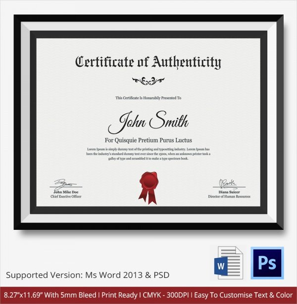 Certificate Of Authenticity Template Art Awesome 45 Sample Certificate Of Authenticity Templates In Pdf