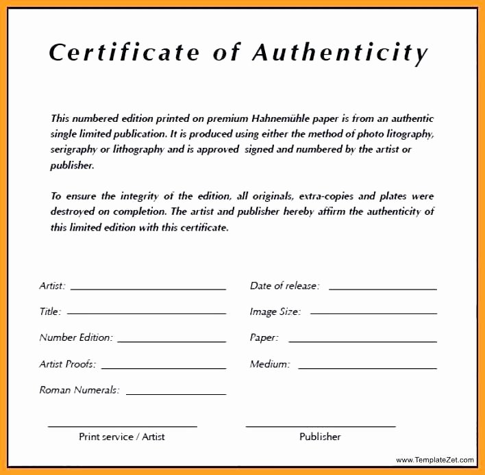 template certificate of authenticity