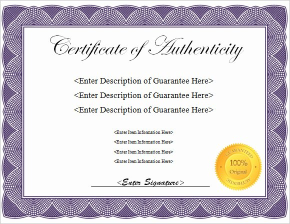 Certificate Of Authenticity Template Art Fresh Blank Certificate Authenticity