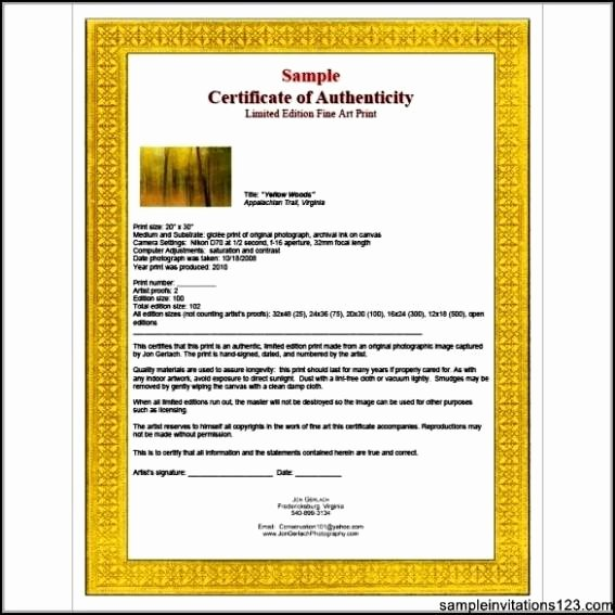 Certificate Of Authenticity Template Art Inspirational Certificate Of Authenticity Templates