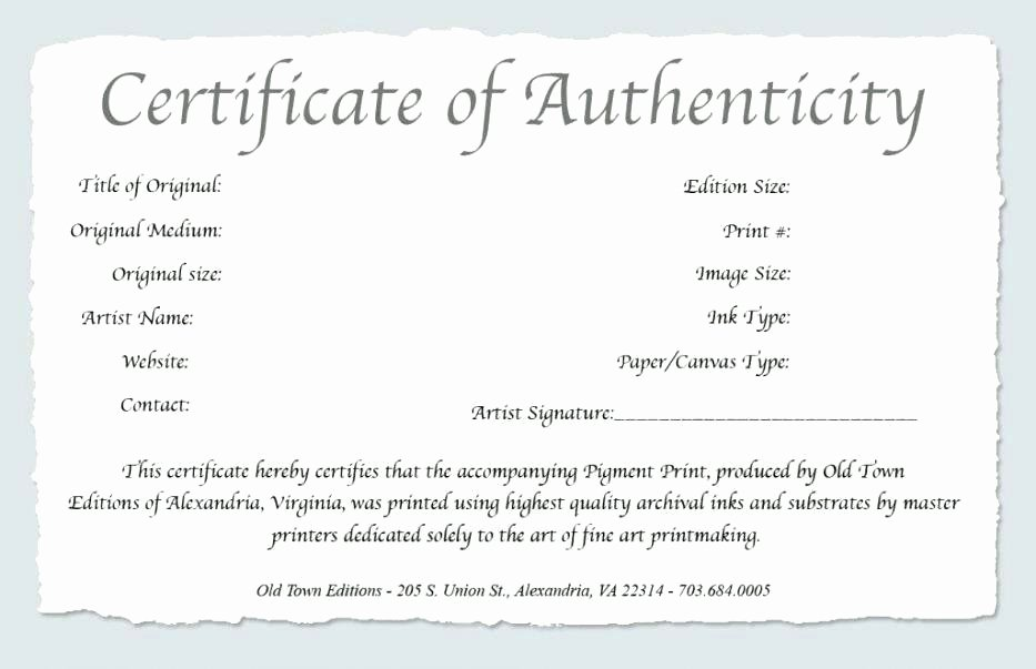 Certificate Of Authenticity Template Art Inspirational Template Certificate Of Authenticity – Kierralewis