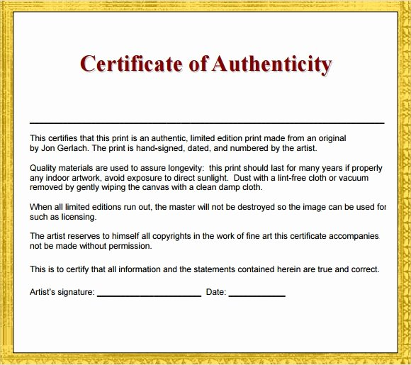 Certificate Of Authenticity Template Art Luxury 45 Sample Certificate Of Authenticity Templates In Pdf