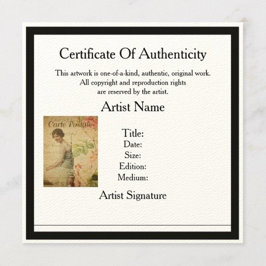 Certificate Of Authenticity Template Art Luxury Certificate Of Authenticity Template for Artists