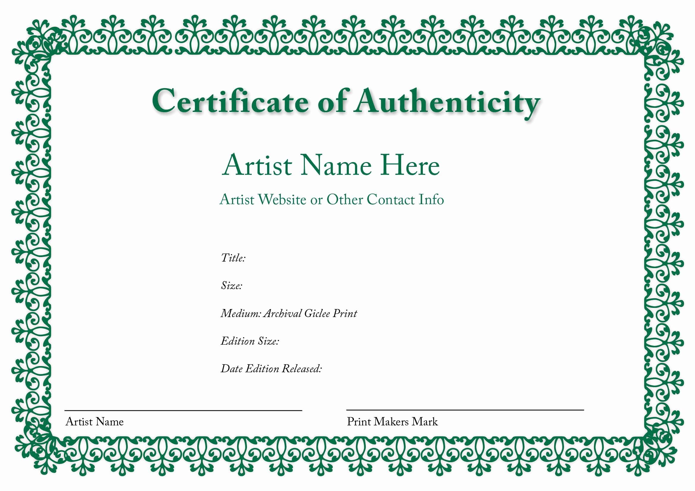 Certificate Of Authenticity Template Art New Certificate Of Authenticity Of An Art Print In 2019
