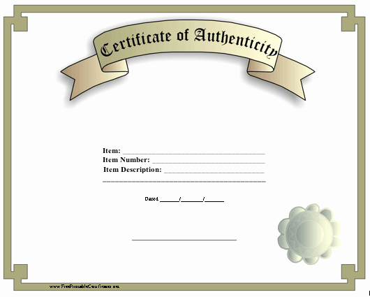 Certificate Of Authenticity Template Art Unique A Classic Certificate Of Authenticity with A Faux Seal