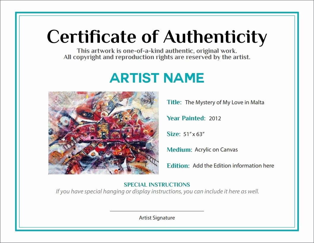 Certificate Of Authenticity Template for Art Awesome Bill Of Sale Certificate Of Authenticity Agora Gallery