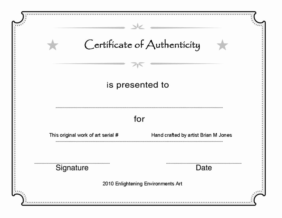 Certificate Of Authenticity Template for Art Beautiful Art Certificate Authenticity Template