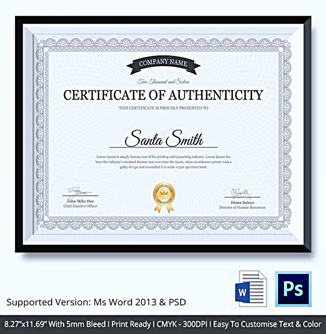 Certificate Of Authenticity Template for Art Elegant Certificate Of Authenticity Template What Information to