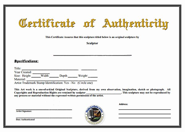 Certificate Of Authenticity Template for Art Inspirational Certificate Authenticity Template