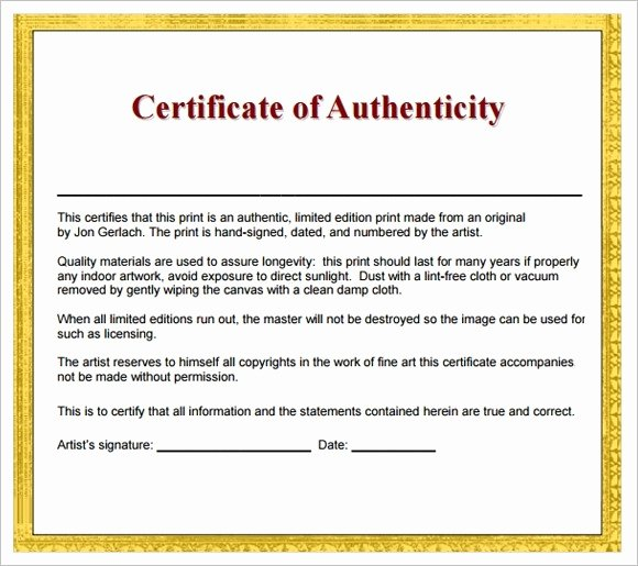 Certificate Of Authenticity Template Free Beautiful Artist Certificate Authenticity Template Icebergcoworking