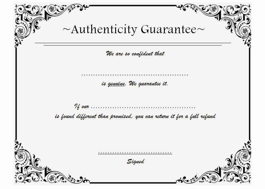 Certificate Of Authenticity Template Free Best Of Certificate Of Authenticity Templates Free [10 Limited