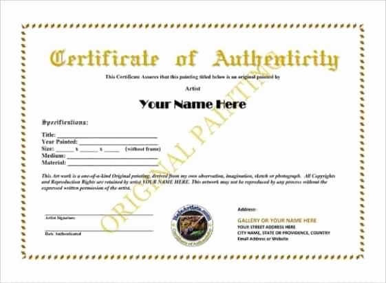 Certificate Of Authenticity Template Free Luxury Certificate Authenticity Templates Word Excel Samples