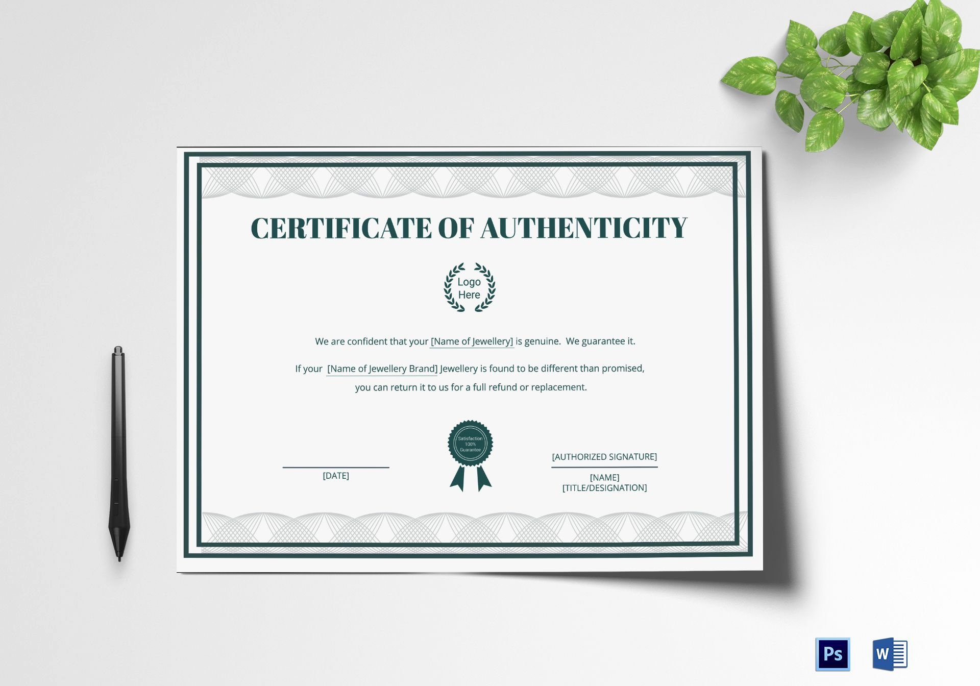 Certificate Of Authenticity Template Microsoft Word Beautiful Brand Authenticity Certificate Design Template In Psd Word