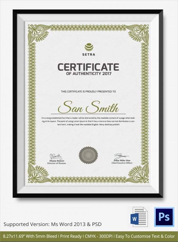 Certificate Of Authenticity Template Microsoft Word Inspirational 45 Sample Certificate Of Authenticity Templates In Pdf