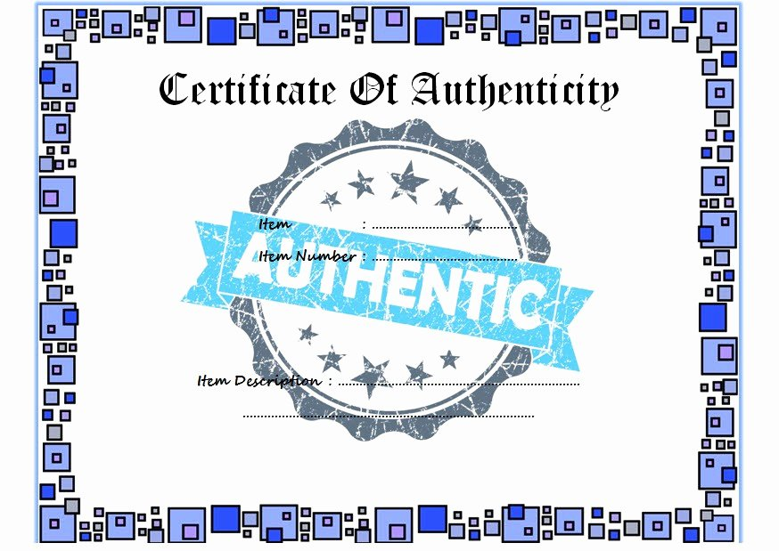 Certificate Of Authenticity Template Microsoft Word Lovely Certificate Of Authenticity Templates Free [10 Limited